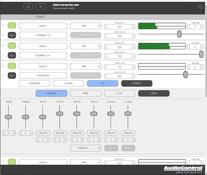 Audiocontrol GUI Director Pink noise