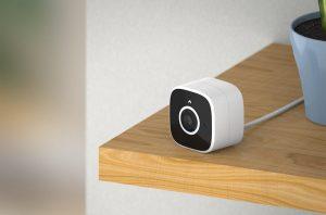 abode Outdoor Smart Camera, on a shelf