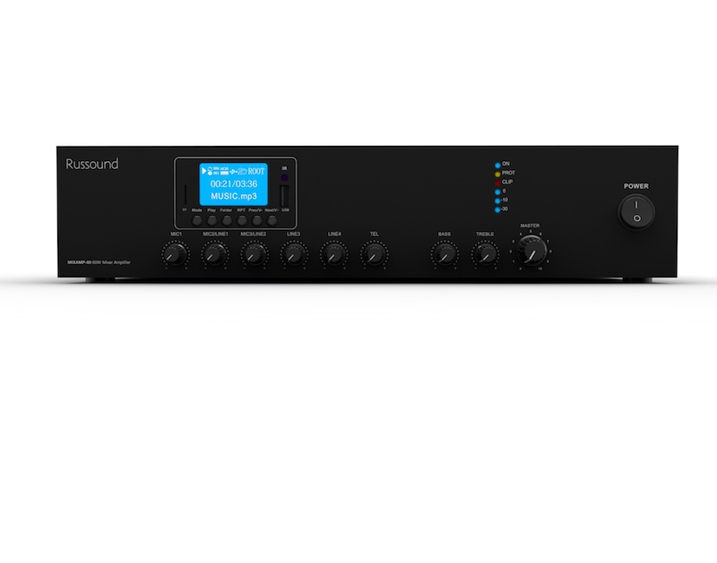 Russound All-in-One MIXAMP-60 is 70V/100V Mixer Amp for Light Commercial Projects