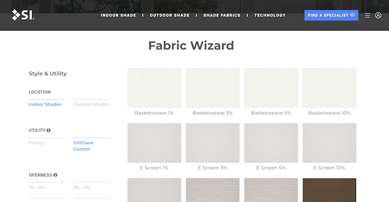 Screen Innovations Adds Window Covering Fabric Selection Specification Tool